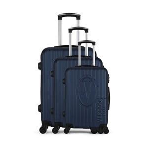 Sada 3 tmavě modrých cestovních kufrů na kolečkách VERTIGO Cadenas Integre Roues