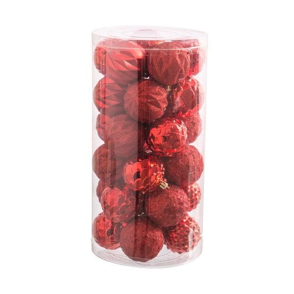 Sada 30 červených vianočných ozdôb Unimasa Balls