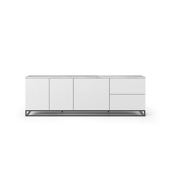 Matowa biała szafka pod TV z białym blatem z dekorem marmuru TemaHome Join, 200x65 cm