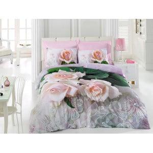 Lenjerie de pat cu cearșaf Anna Pink, 200 x 220 cm