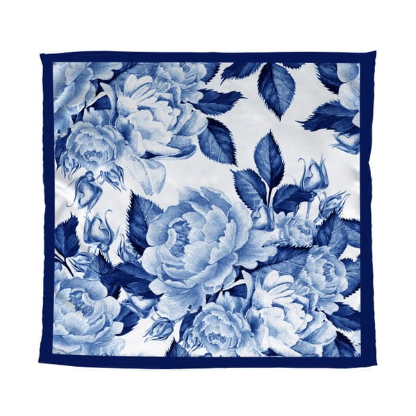 Modrý šátek Madre Selva Blue Flowers, 55 x 55 cm