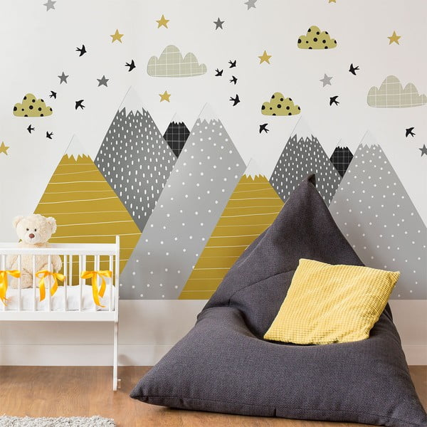 Nástenná samolepka Ambiance Giant Kid Sticker Scandinavian Mountains Henrika