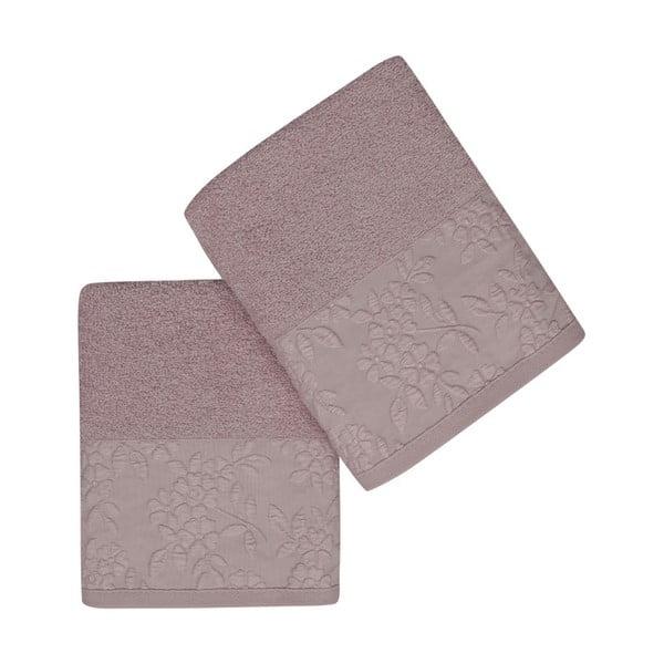 Sada 2 světle fialových ručníků z čisté bavlny, 50 x 90 cm