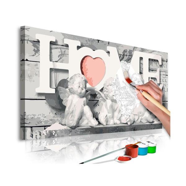 DIY set na tvorbu vlastního obrazu na plátně Artgeist Angels, 80 x 40 cm