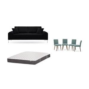 Set třímístné černé pohovky, 4šedozelených židlí a matrace 160 x 200 cm Home Essentials