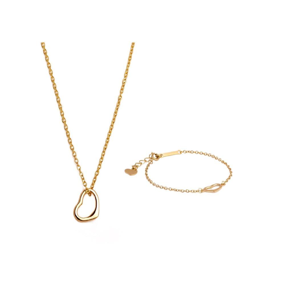 Set náhrdelníku a náramku z chirurgické oceli Victoria Walls Gold Yerres