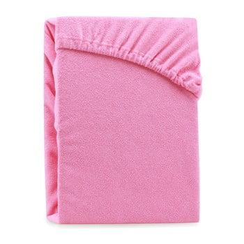 Cearșaf elastic pentru pat dublu AmeliaHome Ruby Pink, 200-220 x 200 cm, roz imagine