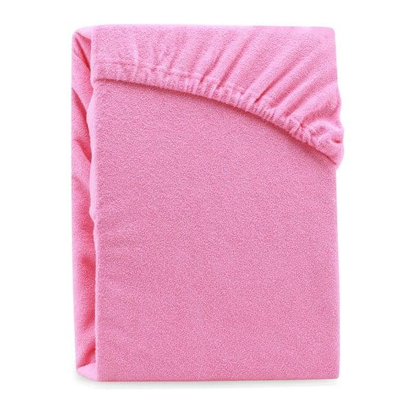 Růžové elastické prostěradlo na dvoulůžko AmeliaHome Ruby Pink, 180-200 x 200 cm
