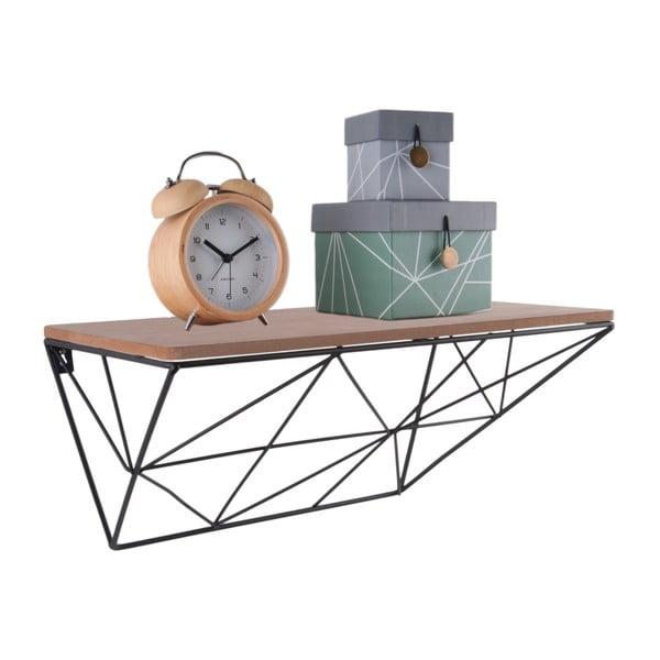 Raft de perete din metal și lemn PT LIVING, 40 x 20 cm