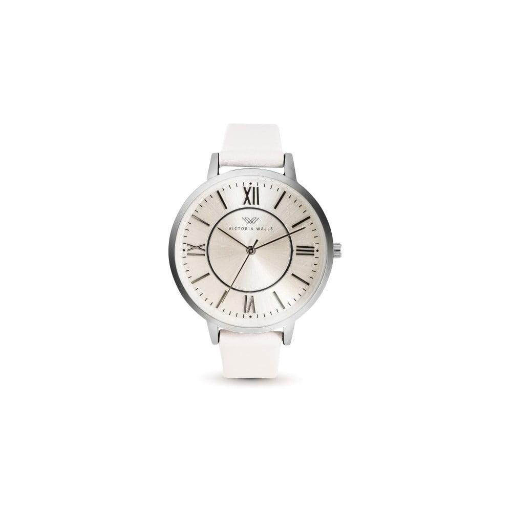 Dámské hodinky s bílým koženým řemínkem Victoria Walls Classy
