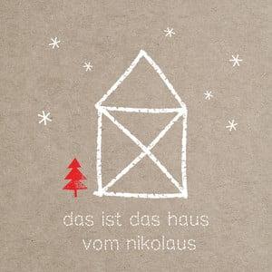 Balení 10 papírových ubrousků s vánočním motivem PPD Santa House Linen