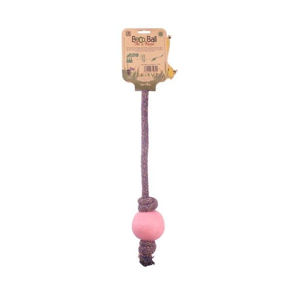 Provaz s míčkem na hraní Beco Rope 45 cm, růžový
