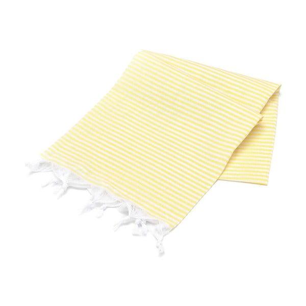 Żółty ręcznik bawełniany Hammam Sarayli, 100x180cm