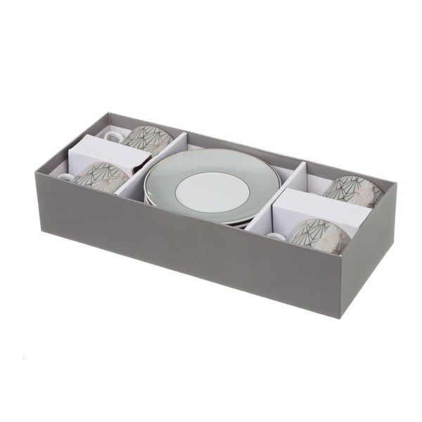 Sada 4 šedých porcelánových hrnečků s podšálky Unimasa Art, 180ml