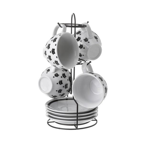 Sada 4 porcelánových hrnčekov Unimasa Boho Cat, 160 ml