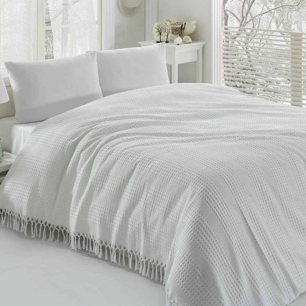 Bílý bavlněný lehký přehoz přes postel na dvoulůžko Pique, 220 x 240 cm