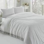 Bílý bavlněný lehký přehoz přes postel Pique,220x240cm
