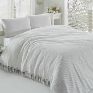 Bílý bavlněný lehký přehoz přes postel na dvoulůžko Pique,220x240cm