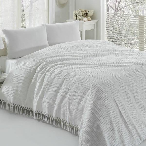 Biely bavlnený ľahký pléd cez posteľ na dvojlôžko Pique, 220×240 cm