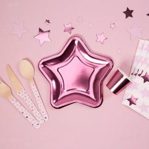 Sada 8 malých papírových talířů ve tvaru hvězdy Neviti Foil Star Pink