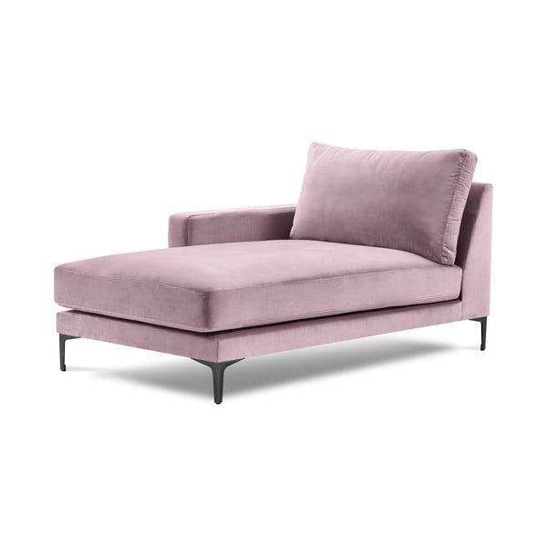 Șezlong cu tapițerie din catifea Kooko Home Harmony, colț pe stânga, roz