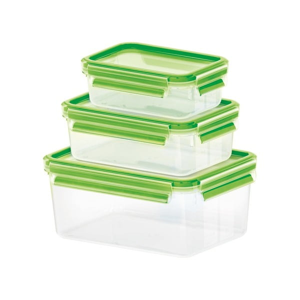 Sada 3 krabiček na jídlo Clip&Close Light Green. 0,55+1+2,3 l