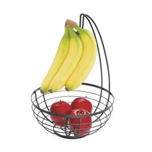 Černý košík na ovoce s háčkem iDesign Austin, ø 27,31 cm