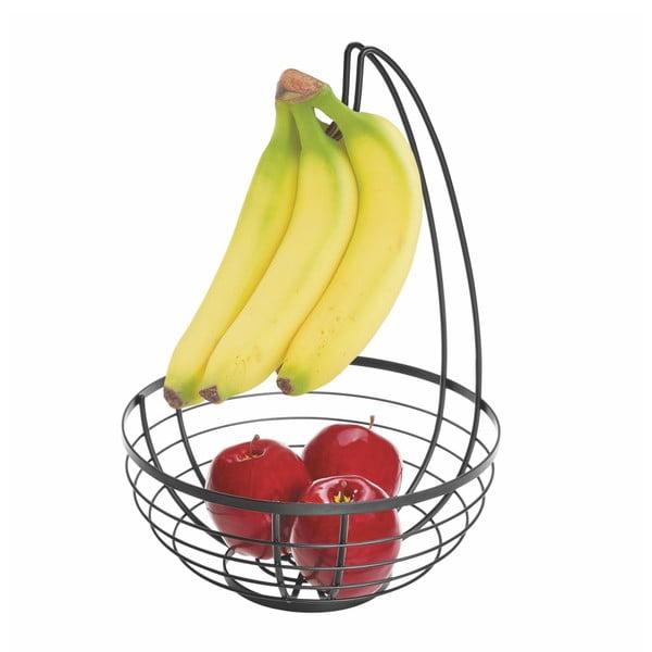 Čierny košík na ovocie s háčikom iDesign Austin, ø 27,31 cm