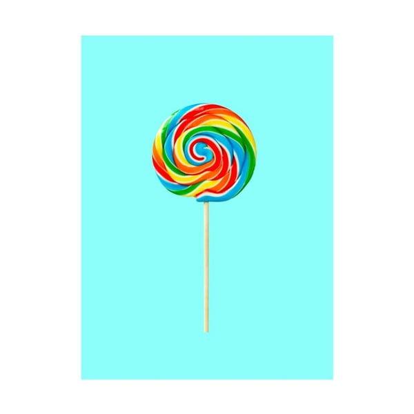 Objets Cultes Lollypop poszter, 30 x 40 cm - Blue-Shaker