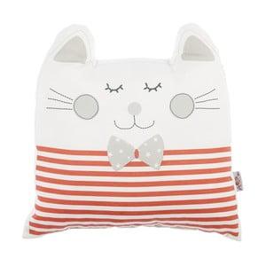 Červený dětský polštářek s příměsí bavlny Apolena Pillow Toy Big Cat, 29 x 29 cm