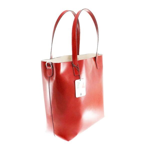 Červená kožená kabelka Chicca Borse Greta
