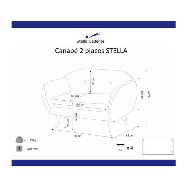 Canapea cu 2 locuri Scandi by Stella Cadente Maison, verde măslină