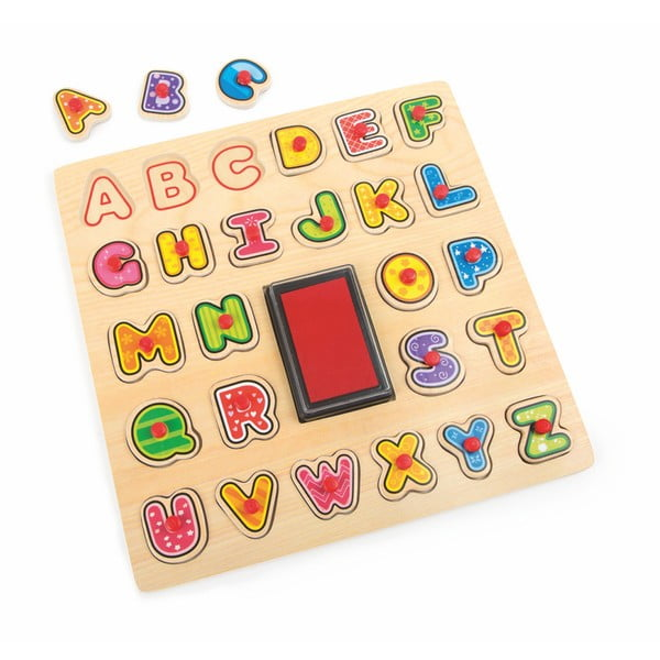 Joc din lemn Legler ABC Stamp & Puzzle