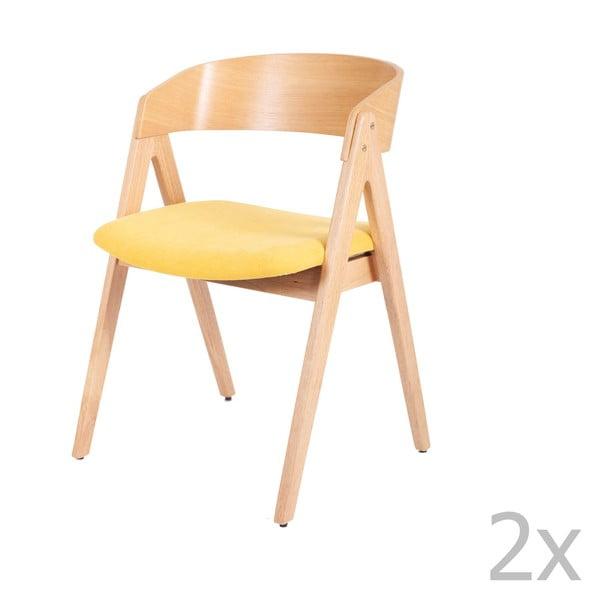 Zestaw 2 krzeseł do jadalni z drewna kauczukowca z żółtym siedziskiem sømcasa Rina