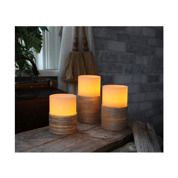 Bílá LED svíčka se sisalem, 15 cm