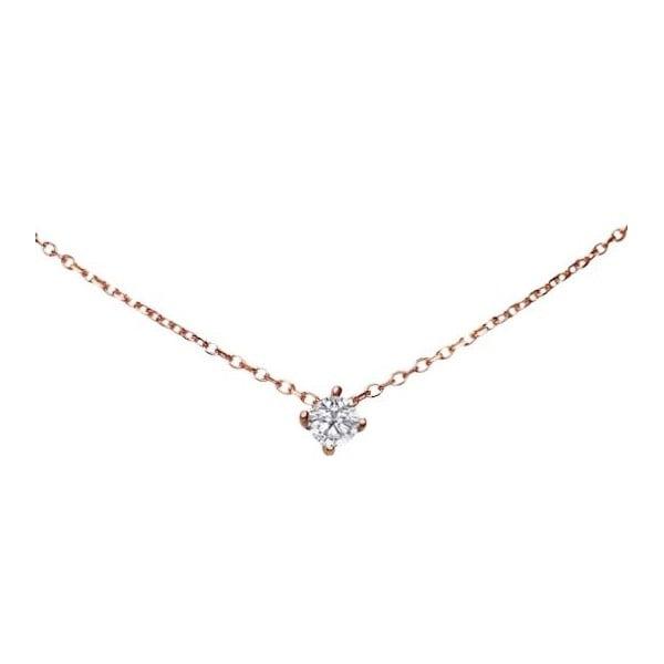 Náhrdelník s diamantem Four Prong, růžové zlato
