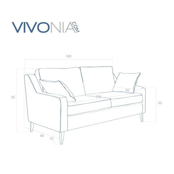 Šedá pohovka pro tři Vivonita Bond