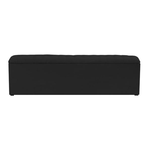 Černý otoman s úložným prostorem Windsor & Co Sofas Nova, 140 x 47 cm