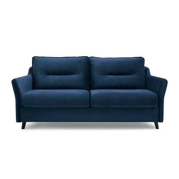Granatowa aksamitna sofa rozkładana Bobochic Paris Loft