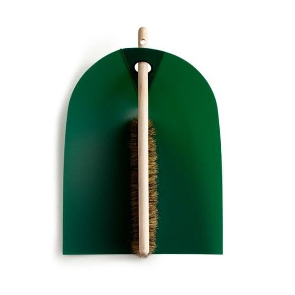 Lopatka s košťátkem s přírodními štětinami Broom, zelená