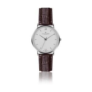 Pánské hodinky s hnědým páskem z pravé kůže Frederic Graff Silver Dent Blanche Croco Brown Leather