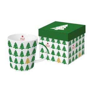 Hrnek z kostního porcelánu s vánočním motivem v dárkovém balení PPD Scandic Tree Green, 350 ml