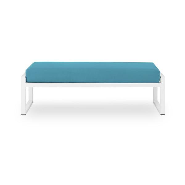 Nicea kék kétszemélyes kültéri pad fehér kerettel - Calme Jardin