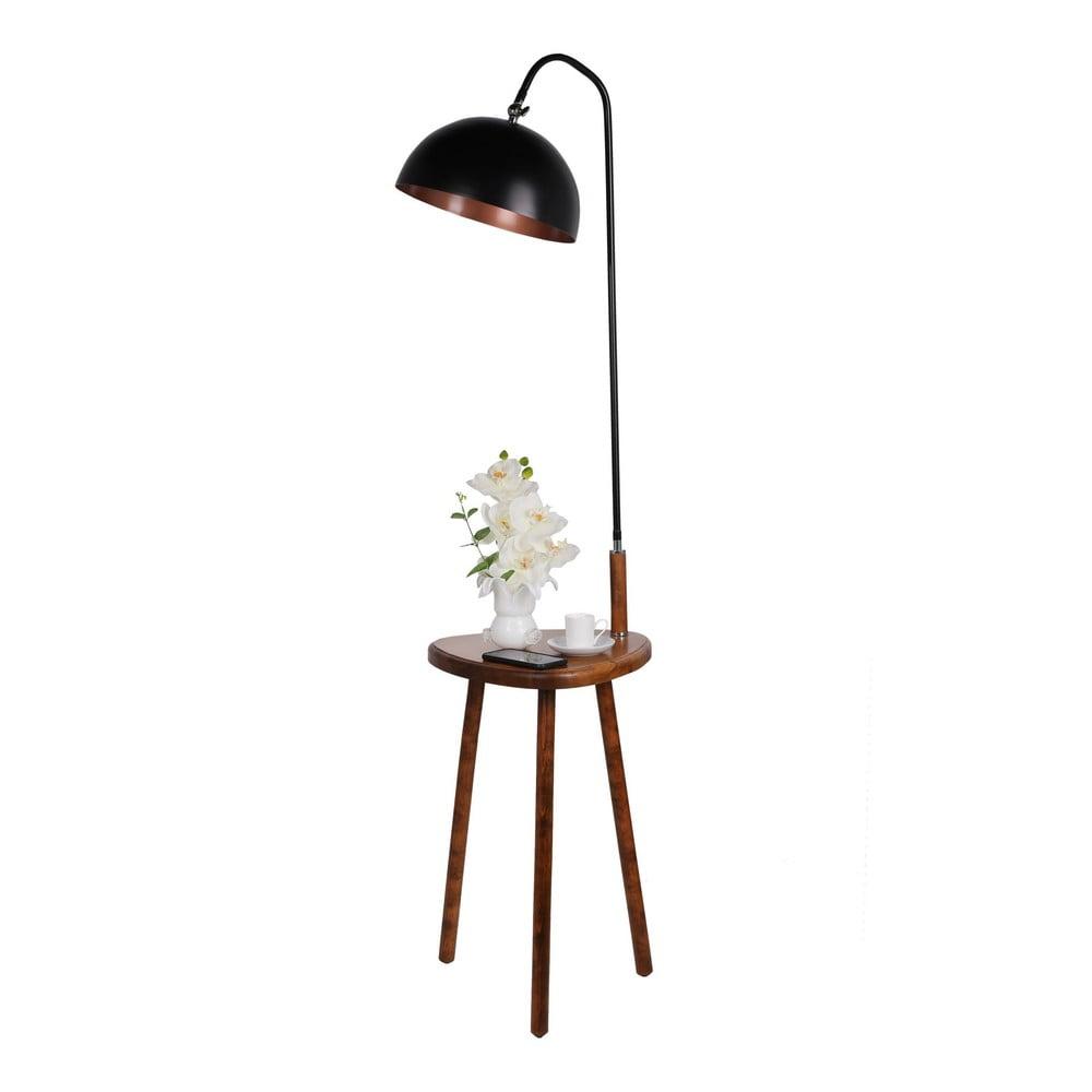 Černá stojací lampa s odkládacím stolkem Opviq lights
