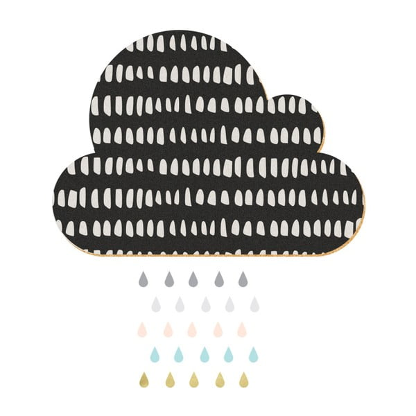 Dekorativní samolepící nástěnka Dekornik Black Cloud With Pastel Drops, 57x40cm