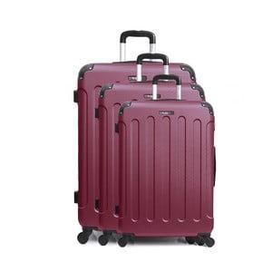 Sada 3 tmavě červených cestovních kufrů na kolečkách Bluestar Vanity Cadenas