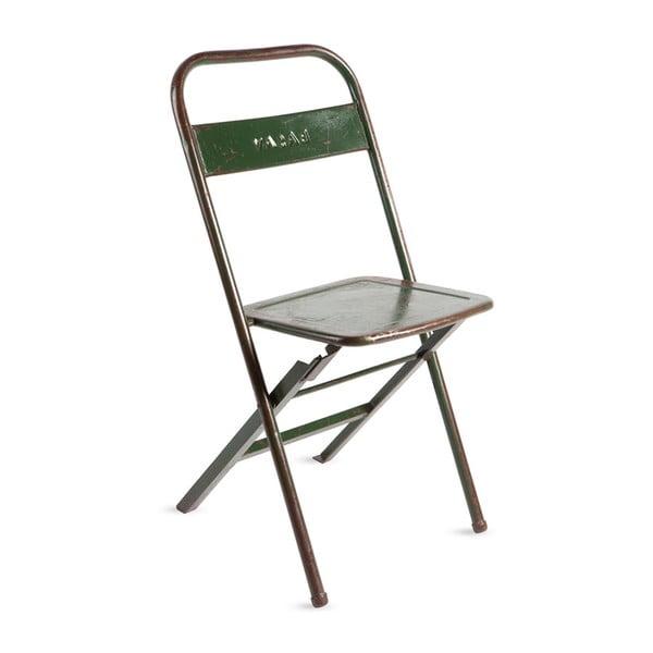 Zelená kovová skládací židle s patinou RGE Mash