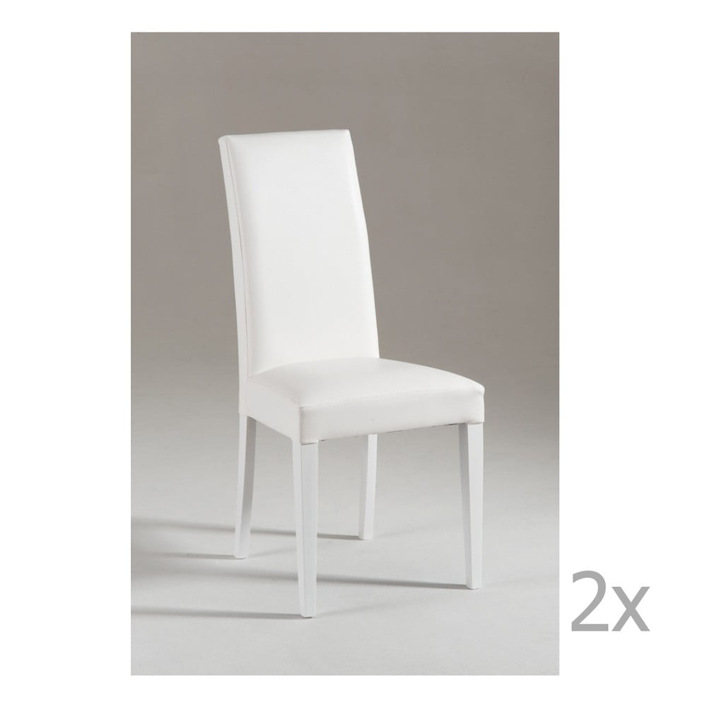 Sada 2 bílých jídelních židlí s bílými nohami Castagnetti Tempi