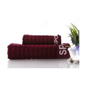 Set dvou ručníků Sport Bugundy, 70x140 a 50x90 cm