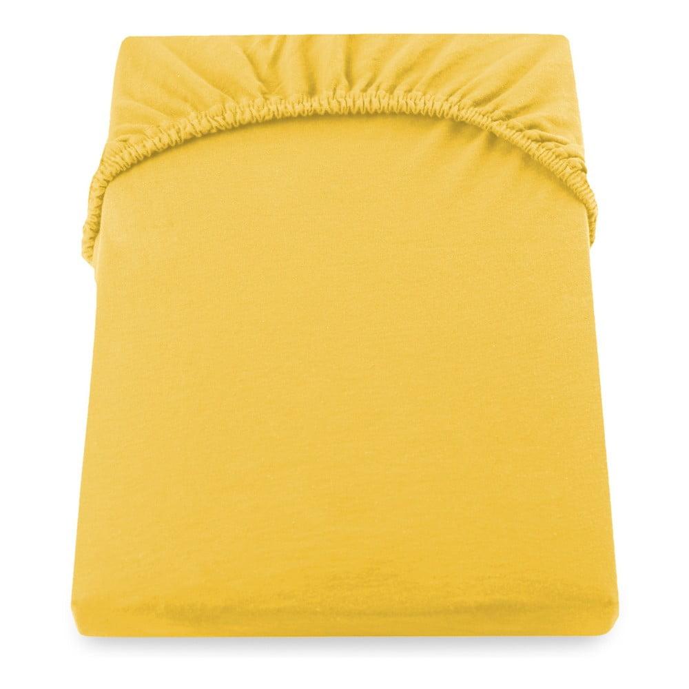 Žluté elastické prostěradlo DecoKing Nephrite, 140–160 cm